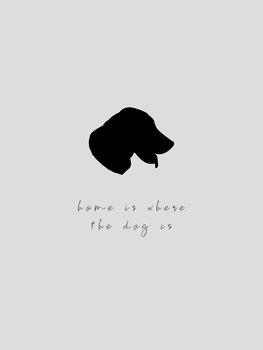 Ilustração home is where the dog is