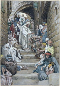 Reprodução do quadro In the Villages the Sick were Brought Unto Him, illustration for 'The Life of Christ', c.1886-94