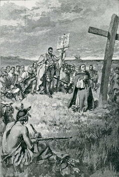 Reprodução do quadro Jacques Cartier (1491-1557) Setting up a Cross at Gaspe, illustration from 'The French Voyageurs' by Thomas Wentworth Higginson, pub. in Harper's Magazine, 1883