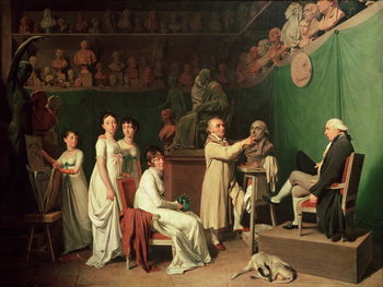 Reprodução do quadro Jean Antoine Houdon (1741-1828) Sculpting the Bust of Pierre Simon (1749-1827) Marquis de Laplace in the Presence of his Wife and Daughters, 1804