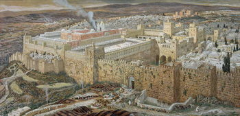 Reprodução do quadro Jerusalem and the Temple of Herod in Our Lord's Time, illustration from 'The Life of Christ', c.1886-94 (w/c & gouache on paperboard)