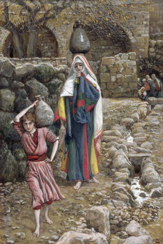 Reprodução do quadro Jesus and His Mother at the Fountain, illustration for 'The Life of Christ', c.1886-94