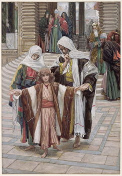 Reprodução do quadro Jesus Found in the Temple, illustration for 'The Life of Christ', c.1886-94
