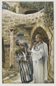 Reprodução do quadro Jesus Heals a Mute Possessed Man, illustration from 'The Life of Our Lord Jesus Christ'