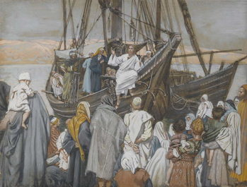 Reprodução do quadro Jesus Preaches in a Ship, illustration from 'The Life of Our Lord Jesus Christ'