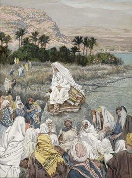 Reprodução do quadro Jesus Preaching by the Seashore, illustration for 'The Life of Christ', c.1886-96