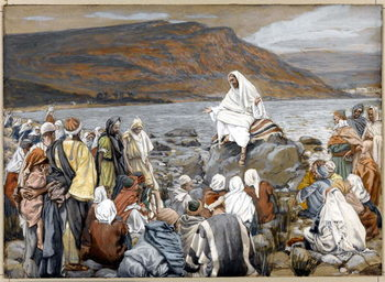 Reprodução do quadro Jesus Teaches the People by the Sea, illustration for 'The Life of Christ', c.1886-96