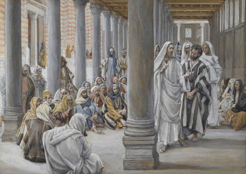 Reprodução do quadro Jesus Walks in the Portico of Solomon, illustration from 'The Life of Our Lord Jesus Christ', 1886-96