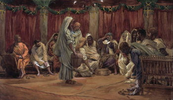 Reprodução do quadro Jesus Washing the Disciples' Feet, illustration for 'The Life of Christ', c.1886-94