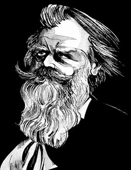 Reprodução do quadro Johannes Brahms, German composer , grey tone watercolour caricature, 1996 by Neale Osborne