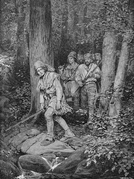 Reprodução do quadro Joseph Brown Leading his Company to Nicojack, the Stronghold of the Chickamaugas, engraved by Robert Hoskin, illustration from 'The Southern Gateway to the Alleghanies' by Edmund Kirke, pub. in Harper's Magazine, 1887