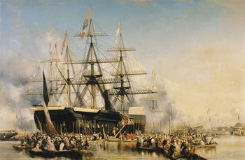 Reprodução do quadro King Louis-Philippe (1830-48) Disembarking at Portsmouth, 8th October 1844, 1846