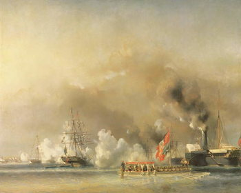 Reprodução do quadro King Louis-Philippe (1830-48) Escorting Queen Victoria (1819-1901) Aboard the Royal Yacht 'Victoria and Albert' at Treport, 7th September 1843, 1844