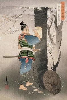 Reprodução do quadro Kojima Takanori Writing a Poem on a Cherry Tree, from the series, 'Pictures of Flowers of Japan', 1895