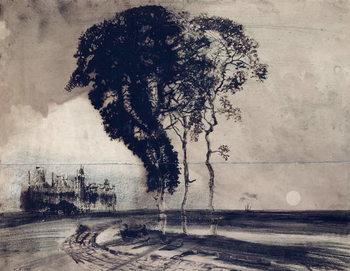 Reprodução do quadro Landscape with Three Trees, 1850