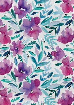 Ilustração Loose pink floral watercolour repeat