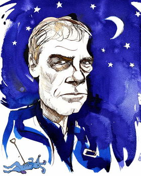 Reprodução do quadro Mark Haddon, English novelist; caricatured with reference to his 2003 novel 'The Curious Incident of the Dog in the Night-Time'