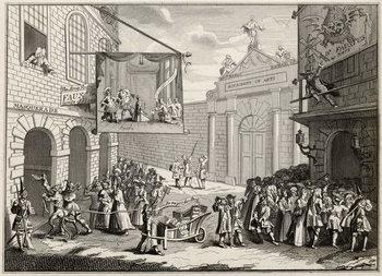 Reprodução do quadro Masquerades and Operas, Burlington Gate, from 'The Works of Hogarth', published 1833