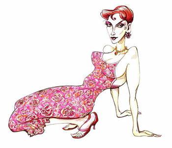 Reprodução do quadro Model in a pink floral dress