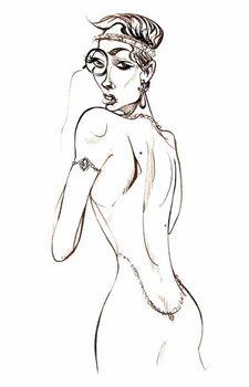 Reprodução do quadro Model wearing a backless dress and a monocle