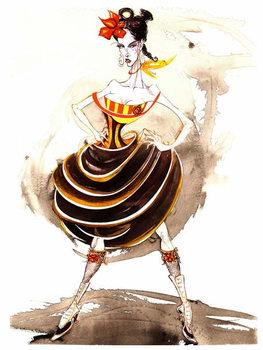 Reprodução do quadro Model wearing a voluminous skirt