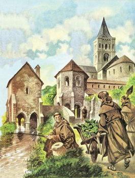 Reprodução do quadro Monks fishing