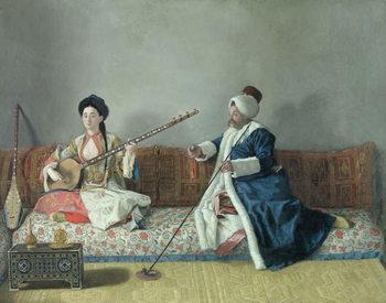 Reprodução do quadro Monsieur Levett and Mademoiselle Helene Glavany in Turkish Costumes