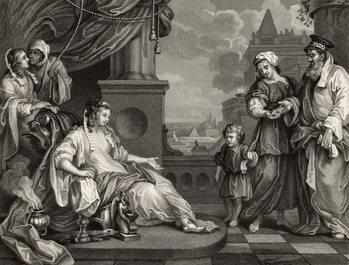 Reprodução do quadro Moses before Pharaoh's Daughter, from 'The Works of William Hogarth', published 1833