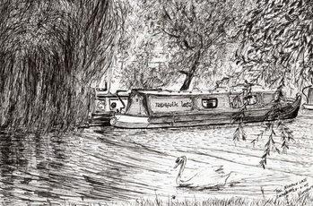 Reprodução do quadro Narrow boats Cambridge, 2005,