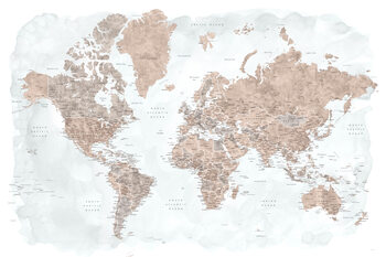 Ilustração Neutrals and muted blue watercolor world map with cities, Calista