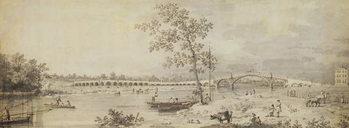 Reprodução do quadro Old Walton Bridge seen from the Middlesex Shore, 1755