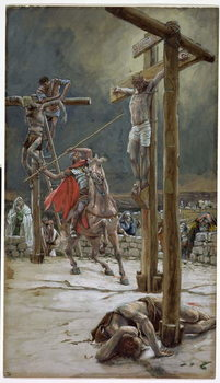 Reprodução do quadro One of the Soldiers with a Spear Pierced His Side, illustration for 'The Life of Christ', c.1886-94