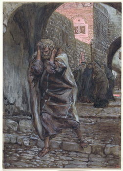 Reprodução do quadro Peter Went Out and Wept Bitterly, illustration for 'The Life of Christ', c.1886-94