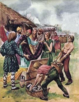 Reprodução do quadro Phoenician merchants trading in Britain