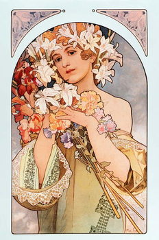 """Reprodução do quadro Poster by Alphonse Mucha  entitled """"The flower"""""""", series of lithographs on flowers, 1897 - Poster by Alphonse Mucha: """"The flower"""" from flowers serie, 1897 Dim 44x66 cm Private collection"""