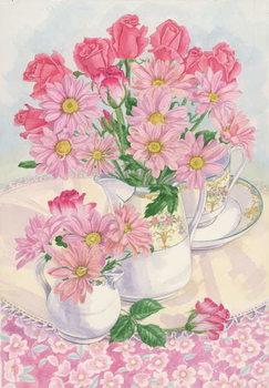 Reprodução do quadro Roses and Chrysanthemums, 1996