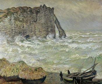 Reprodução do quadro Rough Sea at Etretat, 1883
