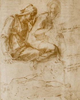 Reprodução do quadro Saint Anne, the Virgin and Child and a study of a nude man