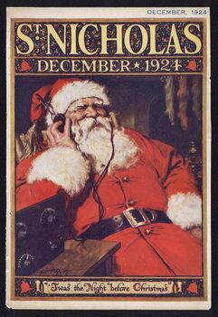 Reprodução do quadro Santa Claus listening to the radio