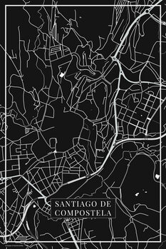 Mapa de Santiago de Compostela black