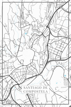 Mapa de Santiago de Compostela white