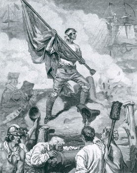 Reprodução do quadro Sergeant Jasper at the Battle of Fort Moultrie, June 28th 1776, illustration from 'The Dawning of Independence' by Thomas Wentworth Higginson, pub. in Harper's Magazine, 1883