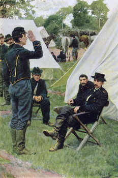 Reprodução do quadro Sheridan's First Interview with Rowand, illustration from 'Rowand' by William Gilmore Beymer, pub. in Harper's Weekly, June 1909