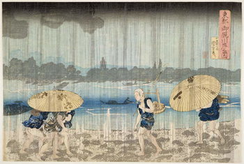 Reprodução do quadro Shower on the Banks of the Sumida River at Ommaya Embankment in Edo, c.1834