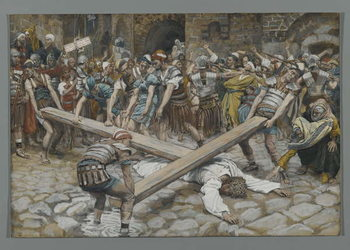 Reprodução do quadro Simon the Cyrenian Compelled to Carry the Cross with Jesus, illustration from 'The Life of Our Lord Jesus Christ', 1886-94