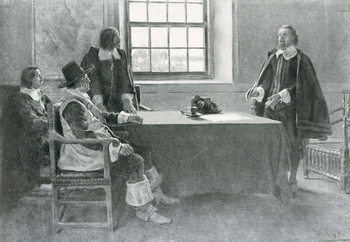 Reprodução do quadro Sir William Berkeley Surrendering to the Commissioners of the Commonwealth, illustration from 'In Washington's Day' by Woodrow Wilson, pub. in Harper's Magazine, 1896
