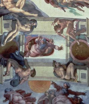 Reprodução do quadro Sistine Chapel Ceiling (1508-12): The Separation of the Waters from the Earth, 1511-12 (fresco)