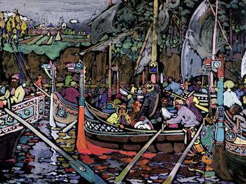 Reprodução do quadro Song of the Volga, 1906