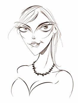 Reprodução do quadro Sophie Dahl, English author and model, sepia line caricature, 2008 by Neale Osborne