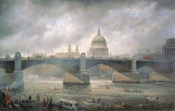 Reprodução do quadro St. Paul's Cathedral from the Southwark Bank, Doggett Coat and Badge Race in Progress